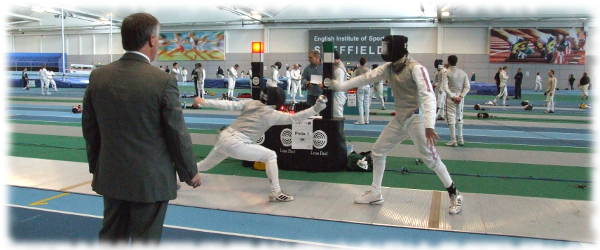 Fencers on Piste with Referee at the English Institute of Sport Sheffield