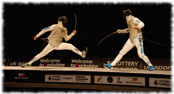 Fencers on Raised Piste at the Senior European Championships Sheffield 2012